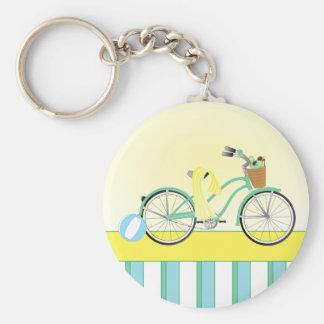 Beach Bicycle Basic Round Button Key Ring