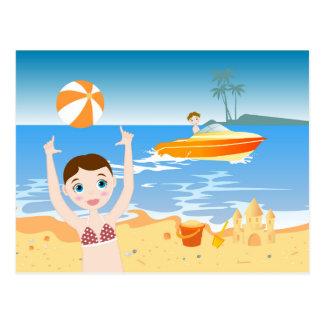 Beach bikini girl has a birthday party postcard