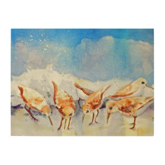 Beach Birds on Board, Watercolor Sandpipers Wood Canvas