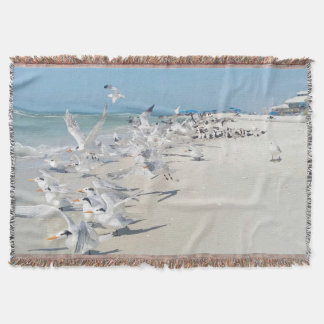 Beach Birds Throw Blanket