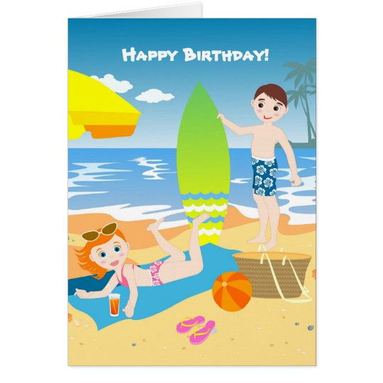 Beach birthday party for kids card