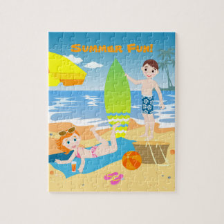 Beach birthday party for kids jigsaw puzzle