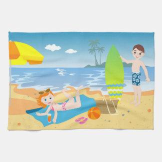 Beach birthday party for kids tea towel