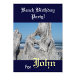 "Beach Birthday Party for Your Name Invitations 5"" X 7"" Invitation Card"