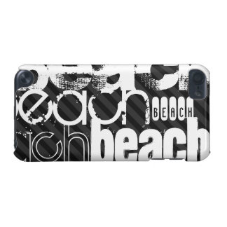 Beach; Black & Dark Gray Stripes iPod Touch (5th Generation) Covers