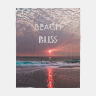 Beach Bliss Tropical Paradise Sunset Fleece Blanket