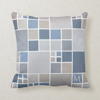 Beach Blue Monogram Geometric Pattern Pillow