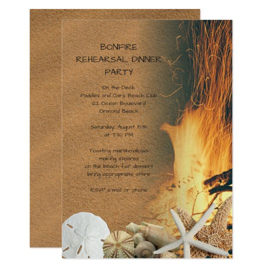 Beach Bonfire Rehearsal Dinner Party Invitations