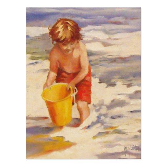 Beach Boy Child in ocean waves Postcard
