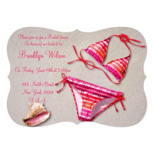 Beach Bridal Shower Invitations Bikini Shell Invitations