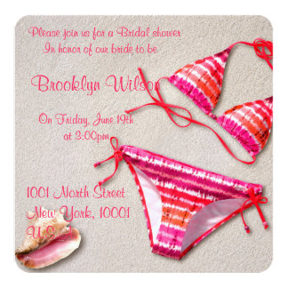 Beach Bridal Shower Invitations Bikini Shell