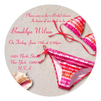 "Beach Bridal Shower Invitations Bikini Shell 5.25"" Square Invitation Card"