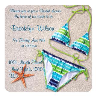 Beach Bridal Shower Invitations Bikini Starfish