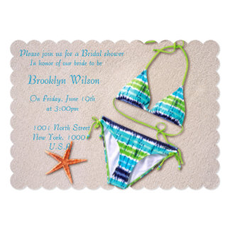 "Beach Bridal Shower Invitations Bikini Starfish 5"" X 7"" Invitation Card"