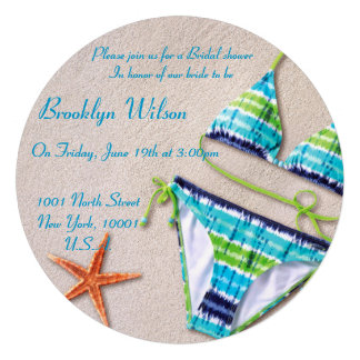 Beach Bridal Shower Invitations Bikini Starfish Invitation