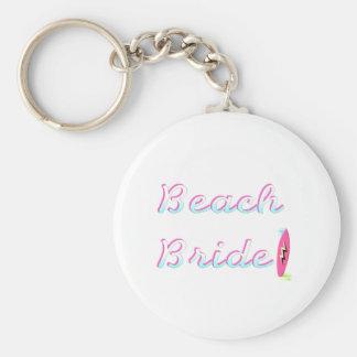 Beach Bride Basic Round Button Key Ring