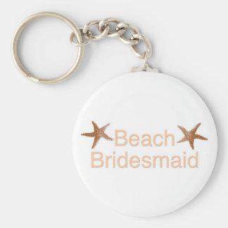 Beach Bridesmaid Starfish Design Basic Round Button Key Ring