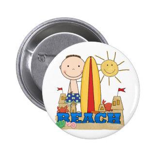 BEACH Brunette Boy Tshirts and Gifts 6 Cm Round Badge