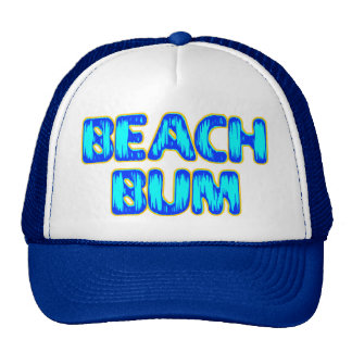 Beach Bum Funny Slogan in Blue Cap