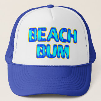 Beach Bum Funny Slogan in Blue Trucker Hat