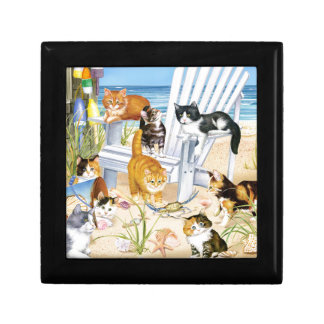 Beach Bum Kittens Wooden Jewelry Keepsake Box