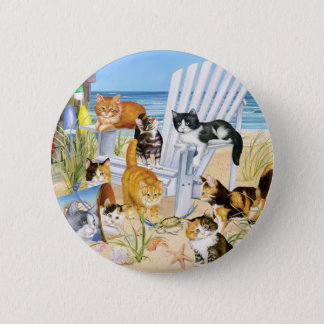 Beach Bum Kitties! 6 Cm Round Badge