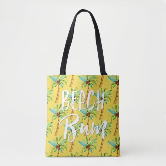 Beach Bum Summer Tropical Palm Tree Beach Tote Bag