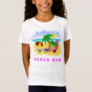 Beach Bum Sun Sea and Surf Fun Colorful Girls Tee