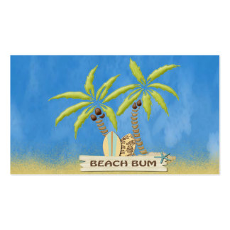 Beach Bum, Surfboards, Palm Trees and Sand Double-Sided Standard Business Cards (Pack Of 100)