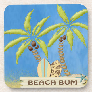 Beach Bum, Surfboards, Palm Trees and Sand Drink Coasters