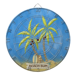 Beach Bum, Surfboards, Palm Trees and Sand Dartboard