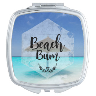 Beach Bum Typography - Umbrella on Tropical Beach Compact Mirrors