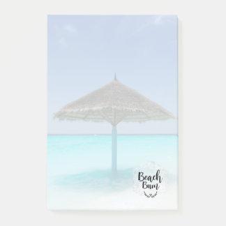 Beach Bum Typography - Umbrella on Tropical Beach Post-it Notes
