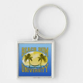 Beach Bum University Silver-Colored Square Key Ring