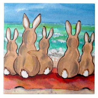 "Beach Bunnies Family on Blanket 6"" Tile Trivet"