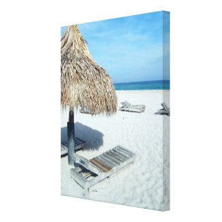 Beach Cabana Tropical Scenic Art Canvas Print