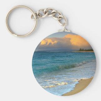 beach chain basic round button key ring