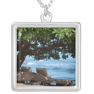 Beach Chair 2 Silver Plated Necklace