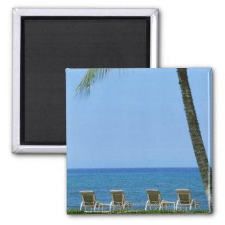 Beach Chair 3 Square Magnet
