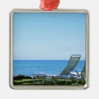 Beach Chair 4 Silver-Colored Square Decoration