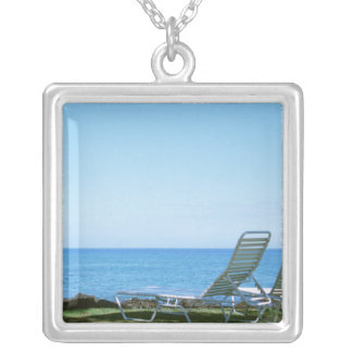 Beach Chair 4 Silver Plated Necklace