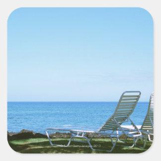 Beach Chair 4 Square Sticker