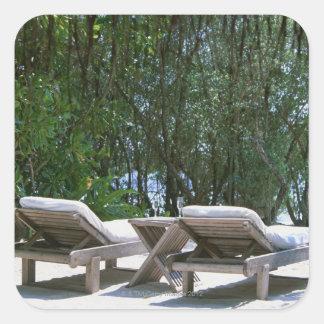 Beach Chair 5 Square Sticker