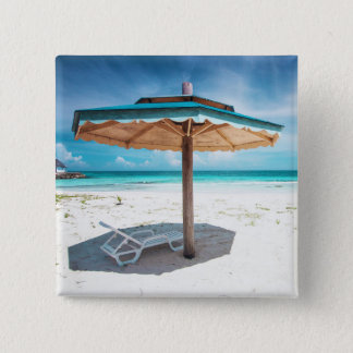Beach Chair And Umbrella | Silver Sands Beach 15 Cm Square Badge