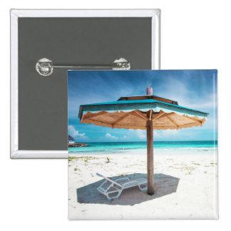 Beach Chair And Umbrella | Silver Sands Beach 15 Cm Square Badge