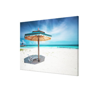 Beach Chair And Umbrella | Silver Sands Beach Canvas Print