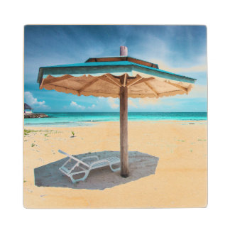 Beach Chair And Umbrella | Silver Sands Beach Wood Coaster