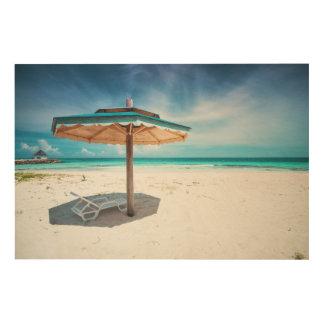 Beach Chair And Umbrella | Silver Sands Beach Wood Print