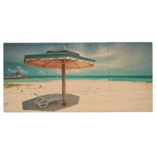 Beach Chair And Umbrella   Silver Sands Beach Wood USB Flash Drive