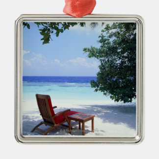 Beach Chair Silver-Colored Square Decoration